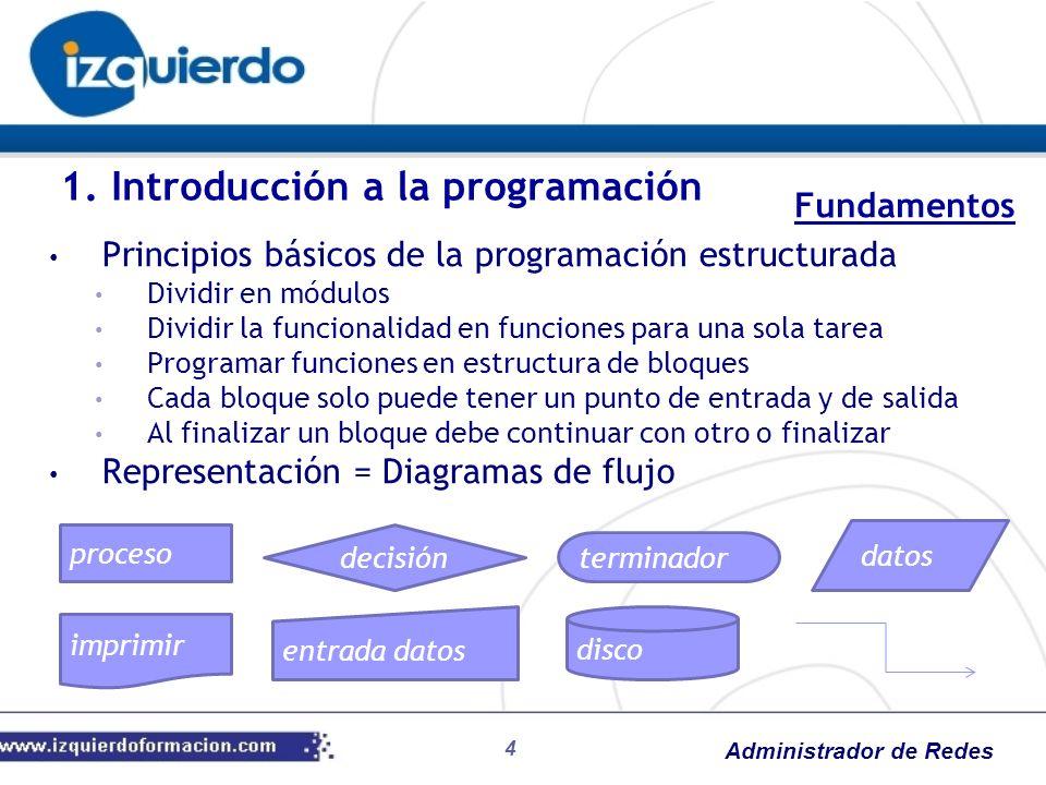 Administrador de Redes 4 Principios básicos de la programación estructurada Dividir en módulos Dividir la funcionalidad en funciones para una sola tar