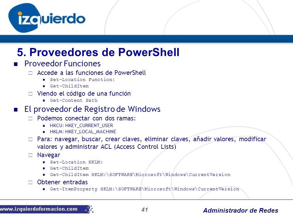 Administrador de Redes 41 Proveedor Funciones Accede a las funciones de PowerShell Set-Location Function: Get-ChildItem Viendo el código de una funció