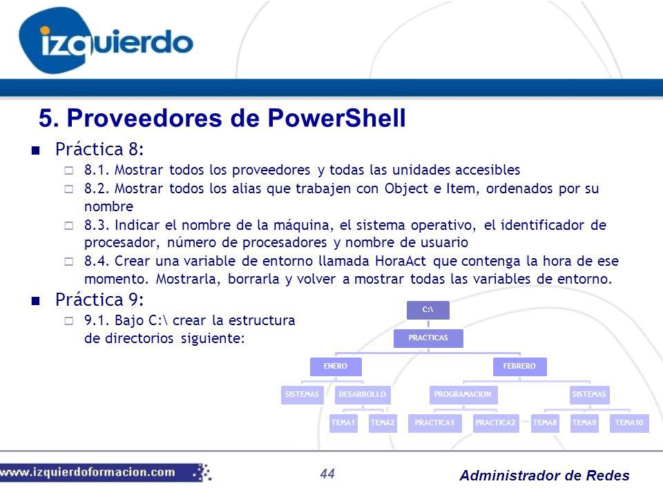 Administrador de Redes 44 Práctica 8: 8.1. Mostrar todos los proveedores y todas las unidades accesibles 8.2. Mostrar todos los alias que trabajen con