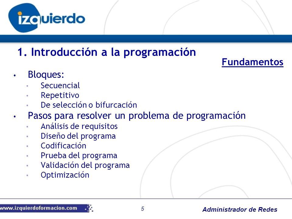 Administrador de Redes 5 Bloques: Secuencial Repetitivo De selección o bifurcación Pasos para resolver un problema de programación Análisis de requisi