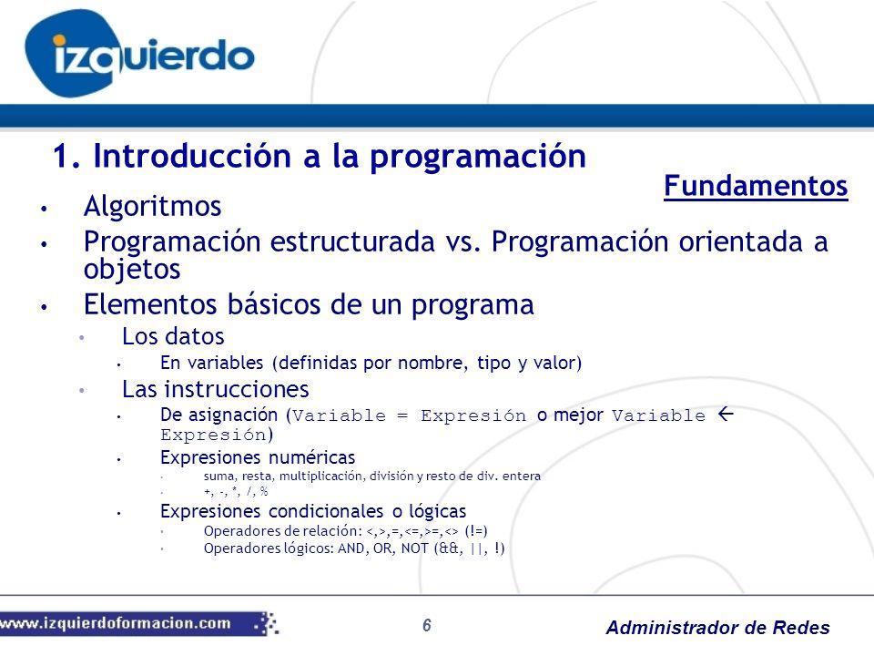 Administrador de Redes 6 Algoritmos Programación estructurada vs. Programación orientada a objetos Elementos básicos de un programa Los datos En varia