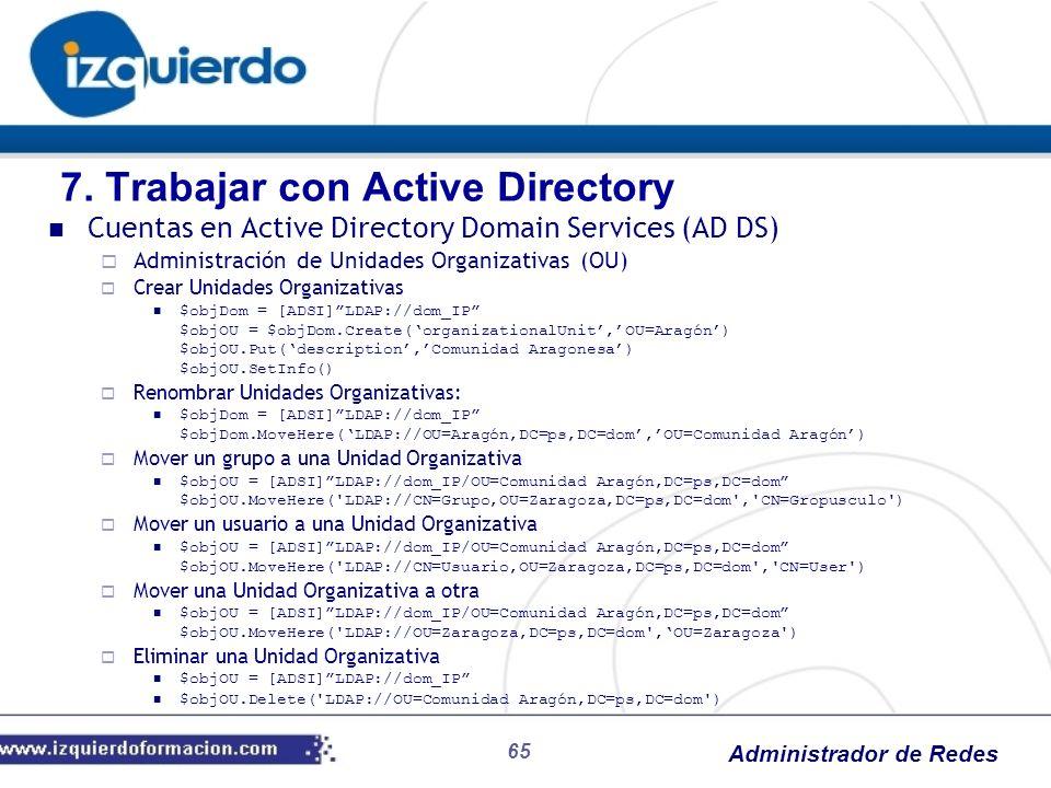 Administrador de Redes 65 Cuentas en Active Directory Domain Services (AD DS) Administración de Unidades Organizativas (OU) Crear Unidades Organizativ