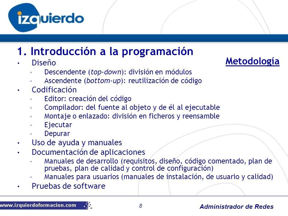 Administrador de Redes 8 Diseño Descendente (top-down): división en módulos Ascendente (bottom-up): reutilización de código Codificación Editor: creac