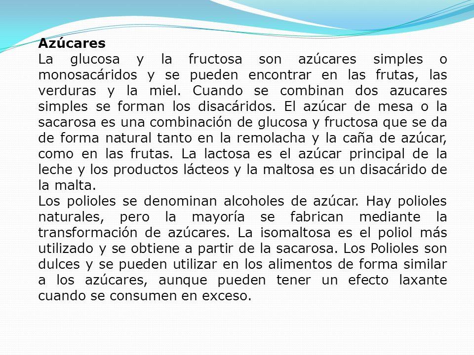 Azúcares La glucosa y la fructosa son azúcares simples o monosacáridos y se pueden encontrar en las frutas, las verduras y la miel. Cuando se combinan