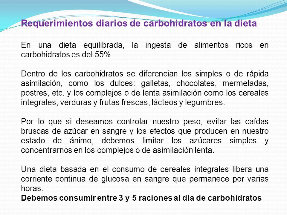 Requerimientos diarios de carbohidratos en la dieta En una dieta equilibrada, la ingesta de alimentos ricos en carbohidratos es del 55%. Dentro de los