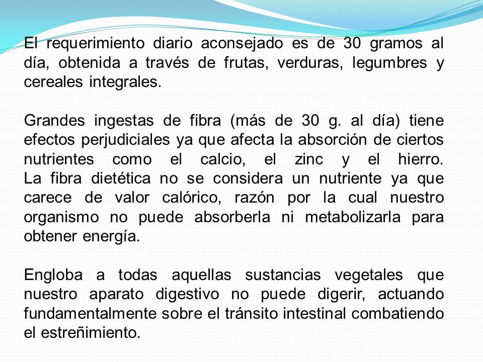 El requerimiento diario aconsejado es de 30 gramos al día, obtenida a través de frutas, verduras, legumbres y cereales integrales. Grandes ingestas de