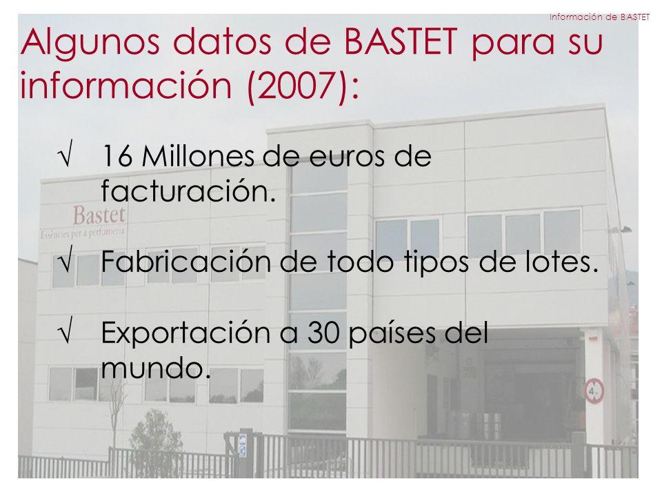 Algunos datos de BASTET para su información (2007): 16 Millones de euros de facturación.