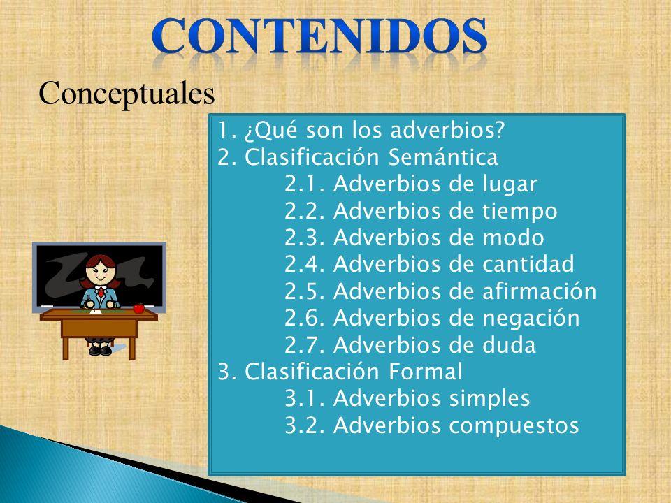 Conceptuales 1. ¿Qué son los adverbios? 2. Clasificación Semántica 2.1. Adverbios de lugar 2.2. Adverbios de tiempo 2.3. Adverbios de modo 2.4. Adverb