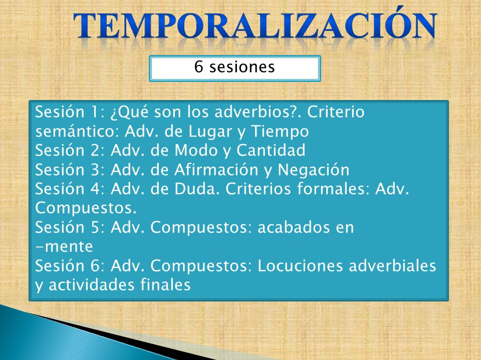 6 sesiones Sesión 1: ¿Qué son los adverbios?. Criterio semántico: Adv. de Lugar y Tiempo Sesión 2: Adv. de Modo y Cantidad Sesión 3: Adv. de Afirmació