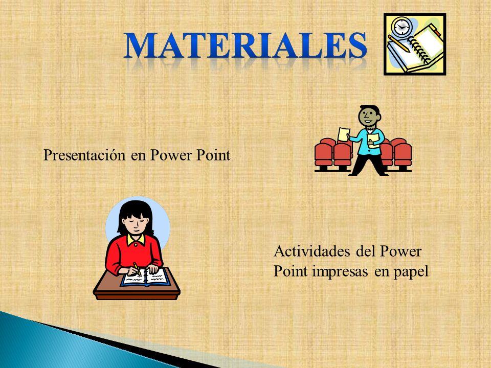 Presentación en Power Point Actividades del Power Point impresas en papel