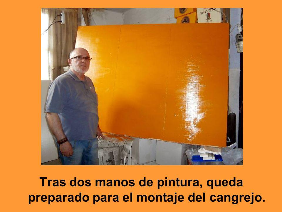 Tras dos manos de pintura, queda preparado para el montaje del cangrejo.