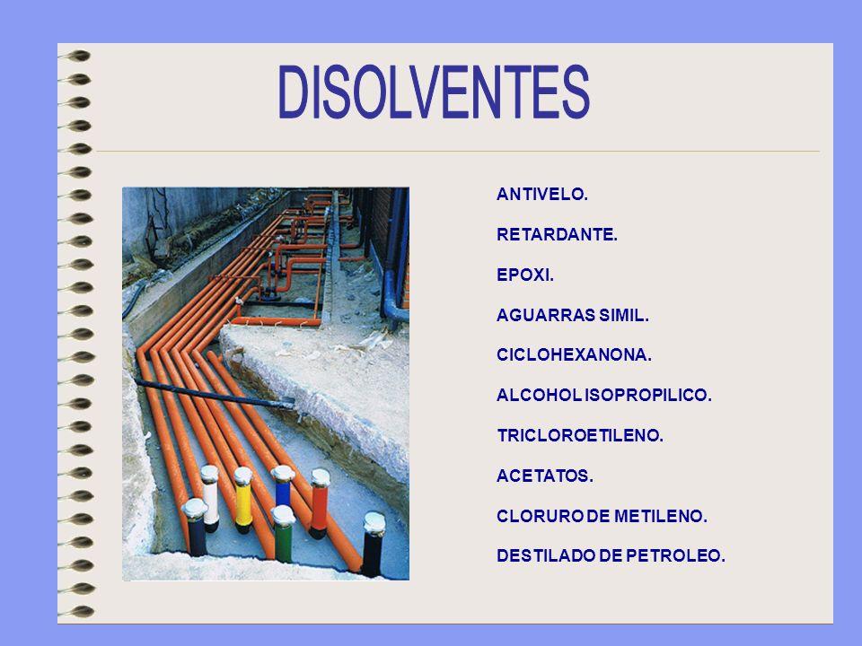 ANTIVELO. RETARDANTE. EPOXI. AGUARRAS SIMIL. CICLOHEXANONA. ALCOHOL ISOPROPILICO. TRICLOROETILENO. ACETATOS. CLORURO DE METILENO. DESTILADO DE PETROLE