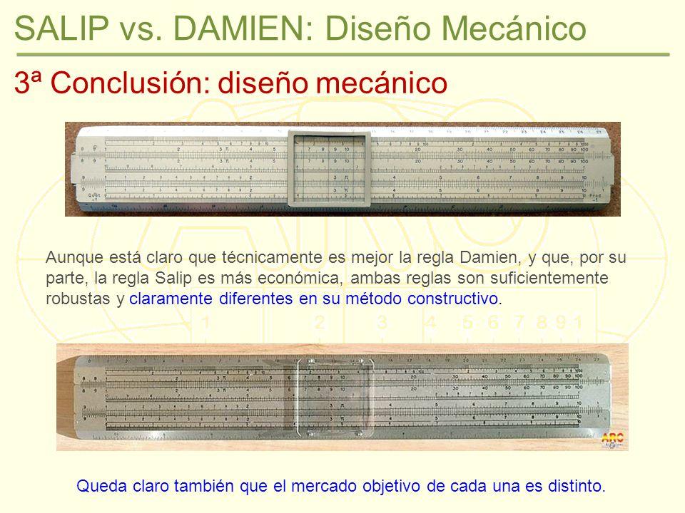 SALIP vs. DAMIEN: Diseño Mecánico 3ª Conclusión: diseño mecánico Aunque está claro que técnicamente es mejor la regla Damien, y que, por su parte, la
