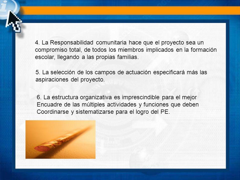 4. La Responsabilidad comunitaria hace que el proyecto sea un compromiso total, de todos los miembros implicados en la formación escolar, llegando a l