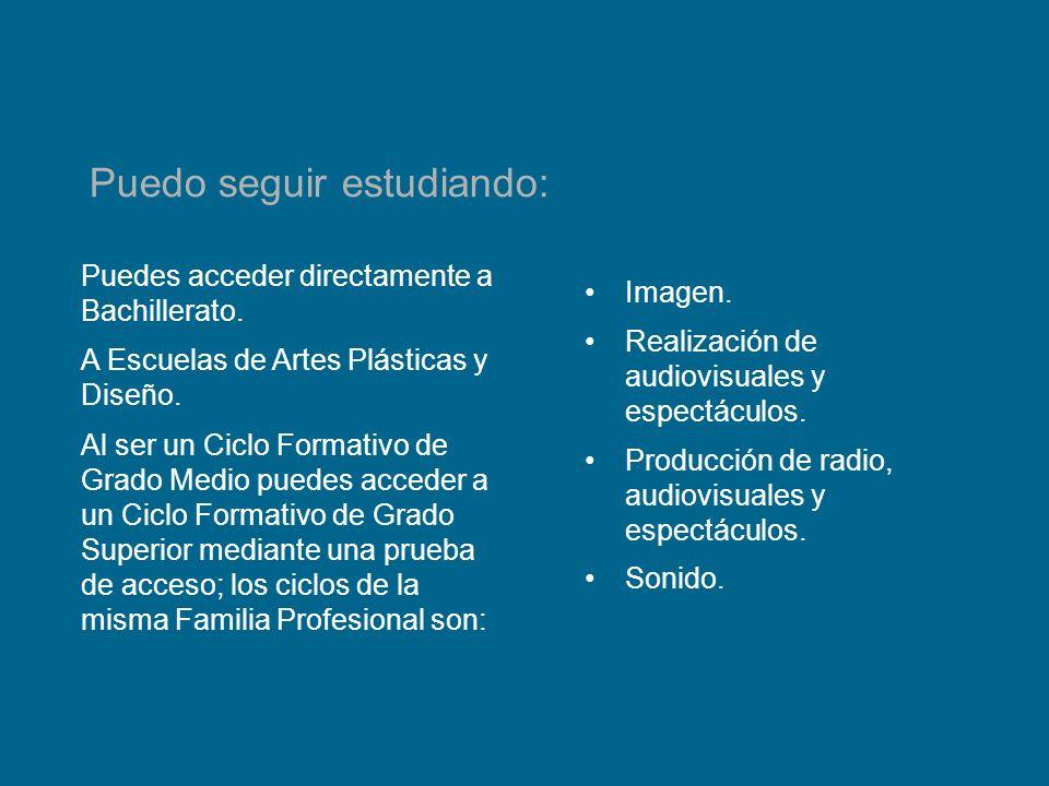 Puedes acceder directamente a Bachillerato. A Escuelas de Artes Plásticas y Diseño. Al ser un Ciclo Formativo de Grado Medio puedes acceder a un Ciclo