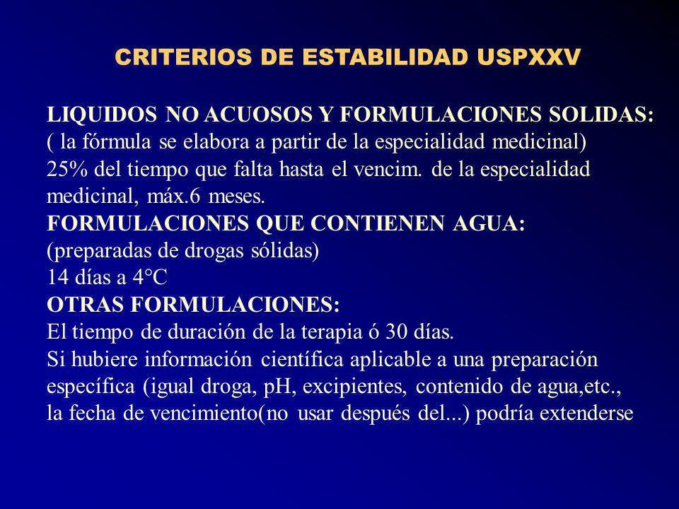 CRITERIOS DE ESTABILIDAD USPXXV LIQUIDOS NO ACUOSOS Y FORMULACIONES SOLIDAS: ( la fórmula se elabora a partir de la especialidad medicinal) 25% del tiempo que falta hasta el vencim.