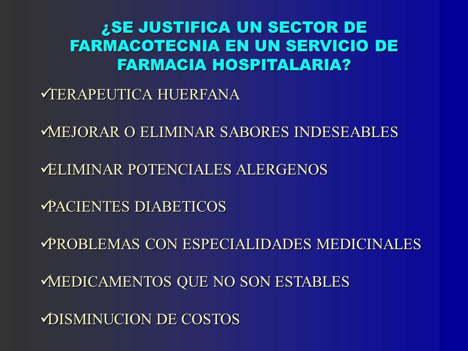 ¿SE JUSTIFICA UN SECTOR DE FARMACOTECNIA EN UN SERVICIO DE FARMACIA HOSPITALARIA.