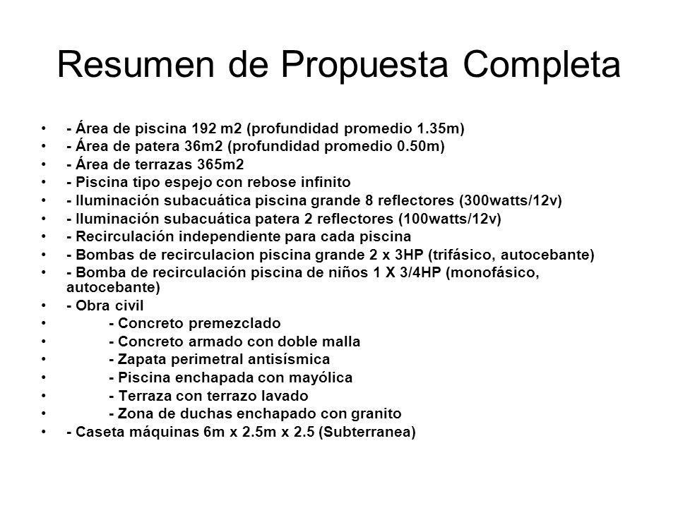 Resumen de Propuesta Completa - Área de piscina 192 m2 (profundidad promedio 1.35m) - Área de patera 36m2 (profundidad promedio 0.50m) - Área de terra
