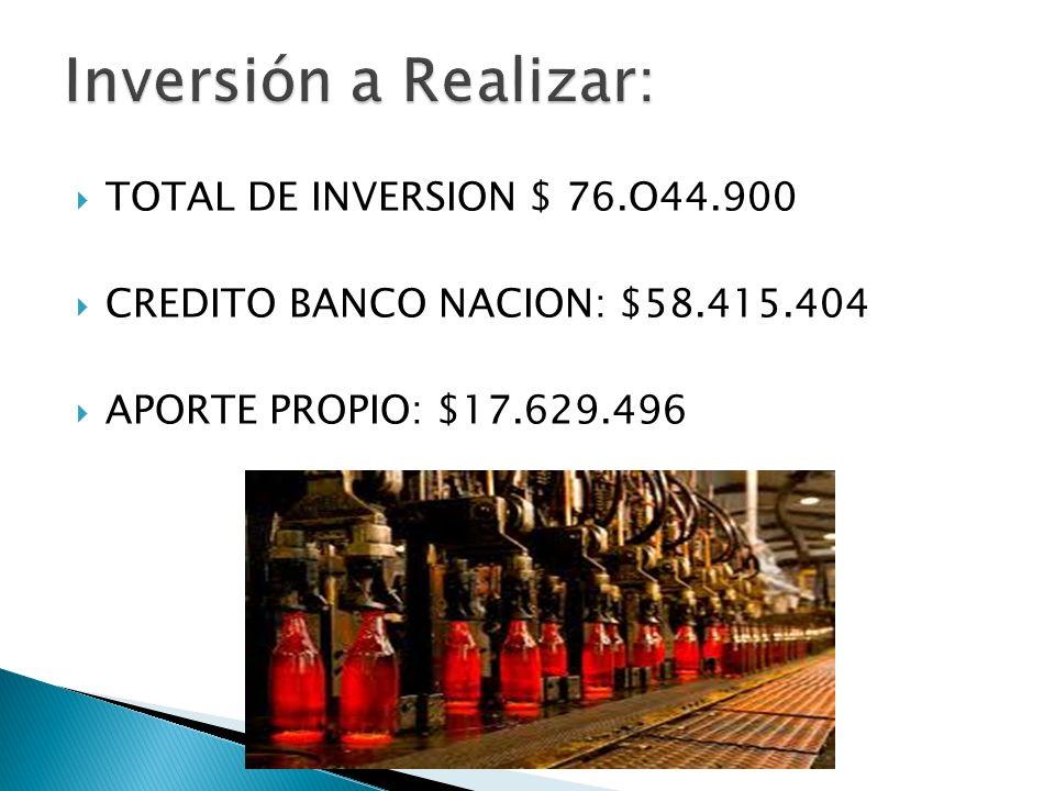 TOTAL DE INVERSION $ 76.O44.900 CREDITO BANCO NACION: $58.415.404 APORTE PROPIO: $17.629.496