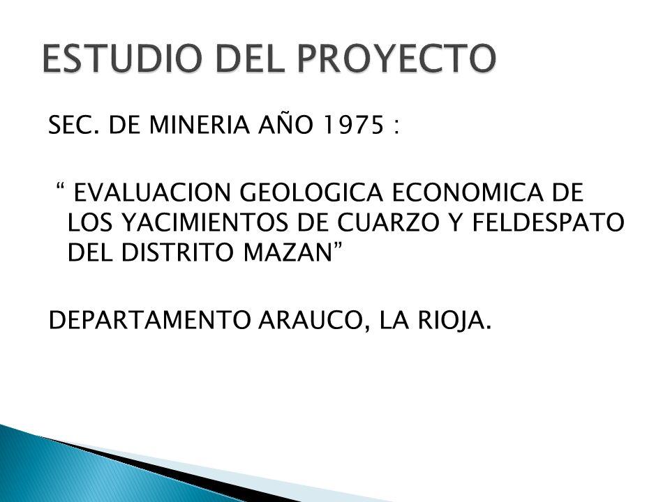 SEC. DE MINERIA AÑO 1975 : EVALUACION GEOLOGICA ECONOMICA DE LOS YACIMIENTOS DE CUARZO Y FELDESPATO DEL DISTRITO MAZAN DEPARTAMENTO ARAUCO, LA RIOJA.