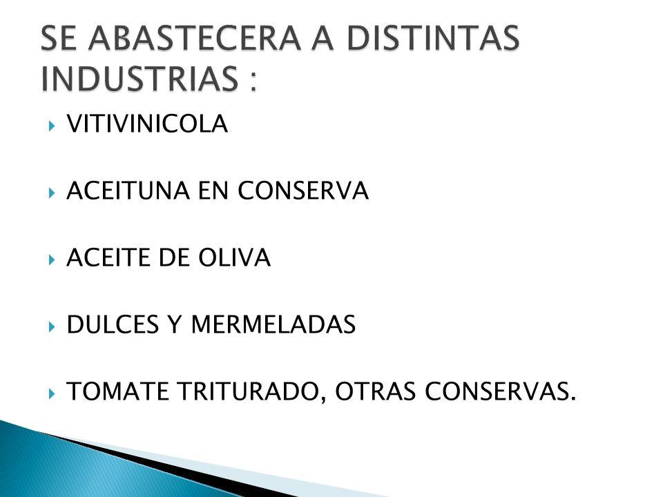 VITIVINICOLA ACEITUNA EN CONSERVA ACEITE DE OLIVA DULCES Y MERMELADAS TOMATE TRITURADO, OTRAS CONSERVAS.