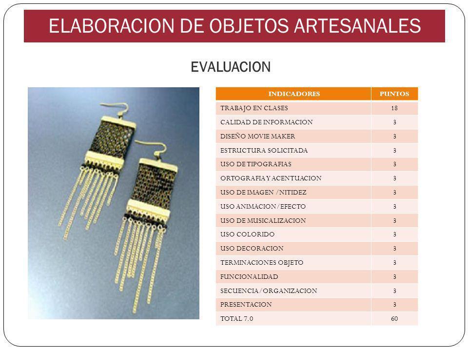EVALUACION INDICADORESPUNTOS TRABAJO EN CLASES18 CALIDAD DE INFORMACION3 DISEÑO MOVIE MAKER3 ESTRUCTURA SOLICITADA3 USO DE TIPOGRAFIAS3 ORTOGRAFIA Y ACENTUACION3 USO DE IMAGEN /NITIDEZ3 USO ANIMACION/EFECTO3 USO DE MUSICALIZACION3 USO COLORIDO3 USO DECORACION3 TERMINACIONES OBJETO3 FUNCIONALIDAD3 SECUENCIA/ORGANIZACION3 PRESENTACION3 TOTAL 7.060 ELABORACION DE OBJETOS ARTESANALES