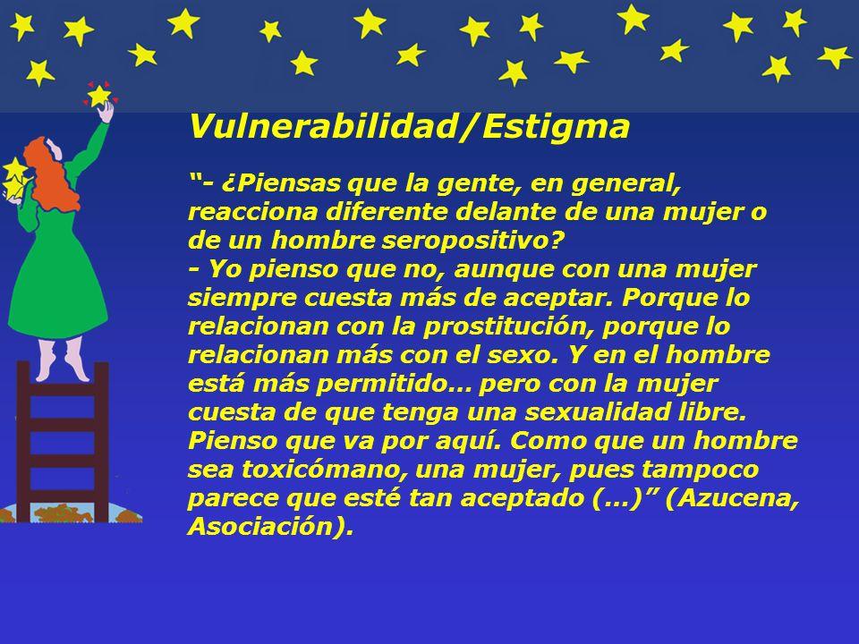Vulnerabilidad/Estigma - ¿Piensas que la gente, en general, reacciona diferente delante de una mujer o de un hombre seropositivo.