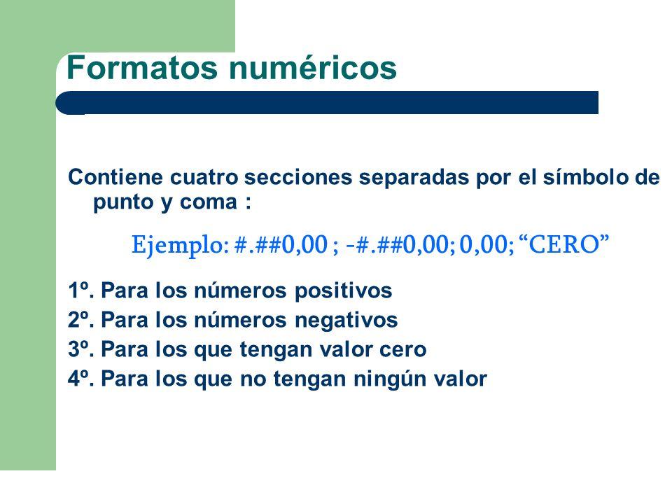 Formatos numéricos Contiene cuatro secciones separadas por el símbolo de punto y coma : 1º. Para los números positivos 2º. Para los números negativos
