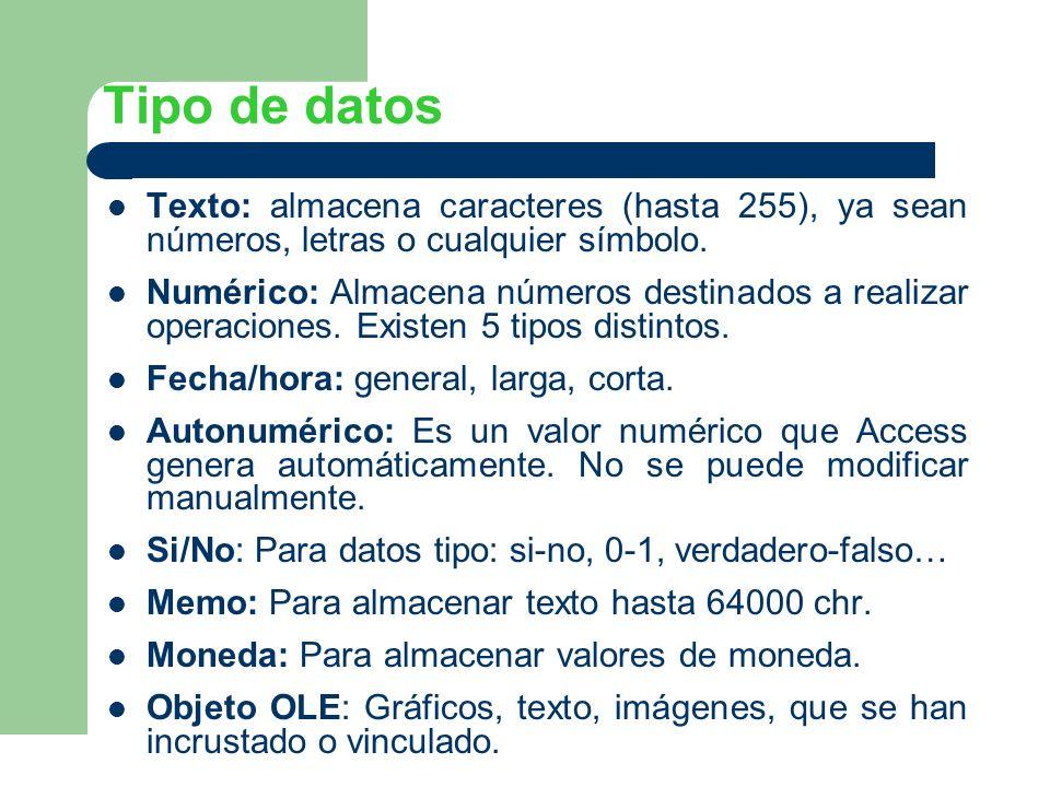 Tipo de datos Texto: almacena caracteres (hasta 255), ya sean números, letras o cualquier símbolo. Numérico: Almacena números destinados a realizar op