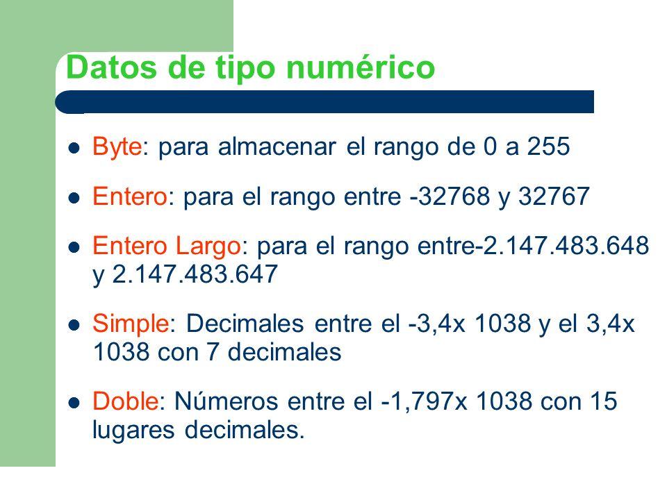 Datos de tipo numérico Byte: para almacenar el rango de 0 a 255 Entero: para el rango entre -32768 y 32767 Entero Largo: para el rango entre-2.147.483