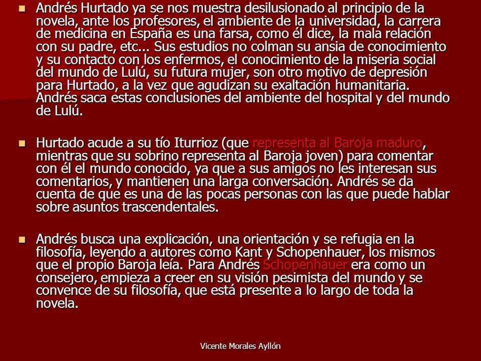 Vicente Morales Ayllón Andrés Hurtado ya se nos muestra desilusionado al principio de la novela, ante los profesores, el ambiente de la universidad, l