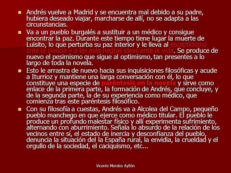 Vicente Morales Ayllón Andrés vuelve a Madrid y se encuentra mal debido a su padre, hubiera deseado viajar, marcharse de allí, no se adapta a las circ