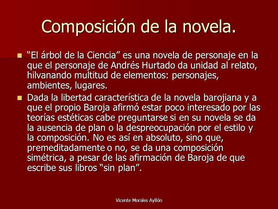 Vicente Morales Ayllón Composición de la novela. El árbol de la Ciencia es una novela de personaje en la que el personaje de Andrés Hurtado da unidad