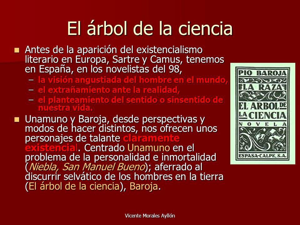 Vicente Morales Ayllón El árbol de la ciencia Antes de la aparición del existencialismo literario en Europa, Sartre y Camus, tenemos en España, en los