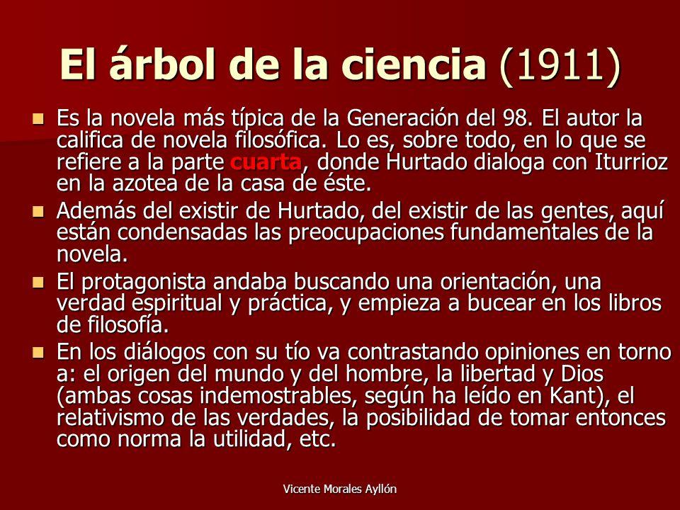 Vicente Morales Ayllón El árbol de la ciencia (1911) Es la novela más típica de la Generación del 98. El autor la califica de novela filosófica. Lo es