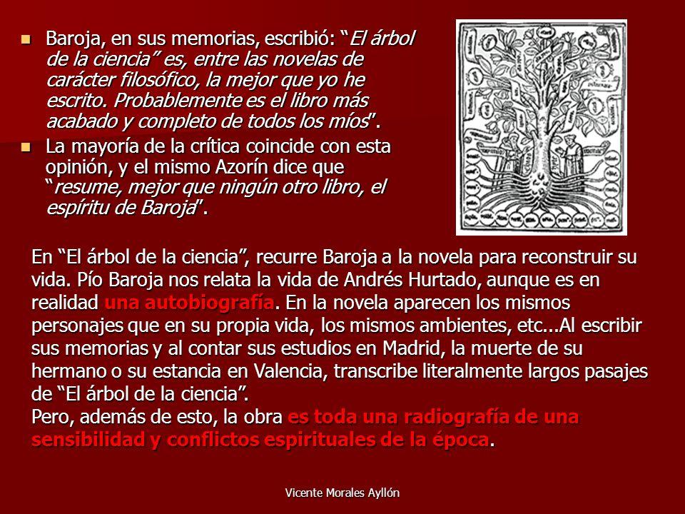 Vicente Morales Ayllón Baroja, en sus memorias, escribió: El árbol de la ciencia es, entre las novelas de carácter filosófico, la mejor que yo he escr