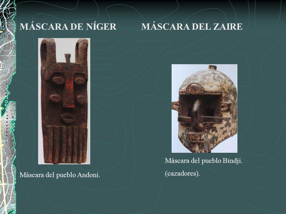 Máscara de hierro y marfil (Benin), siglo XVI.Máscara de cobre.