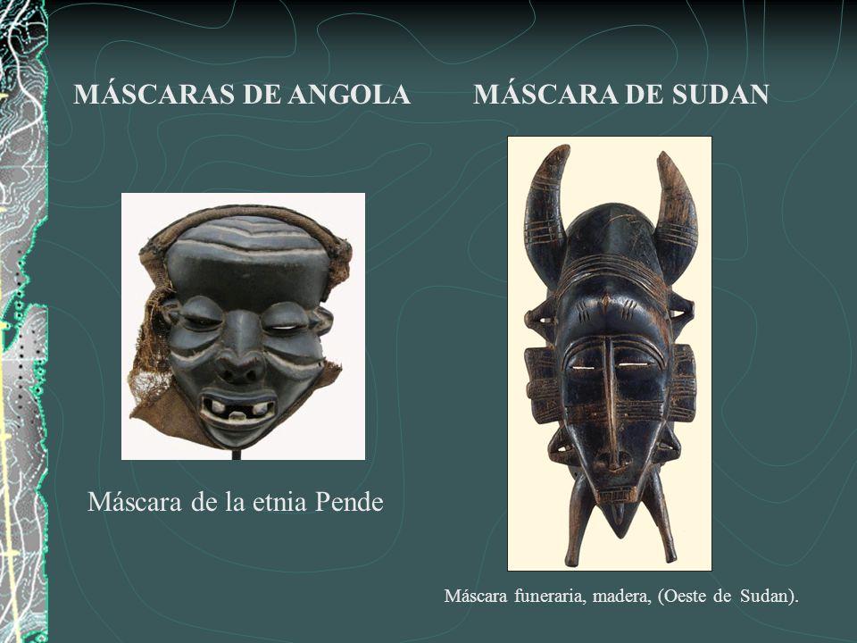 Máscara de búfalo en madera (izquierda) Danzantes con una máscara de pez y de cocodrilo.
