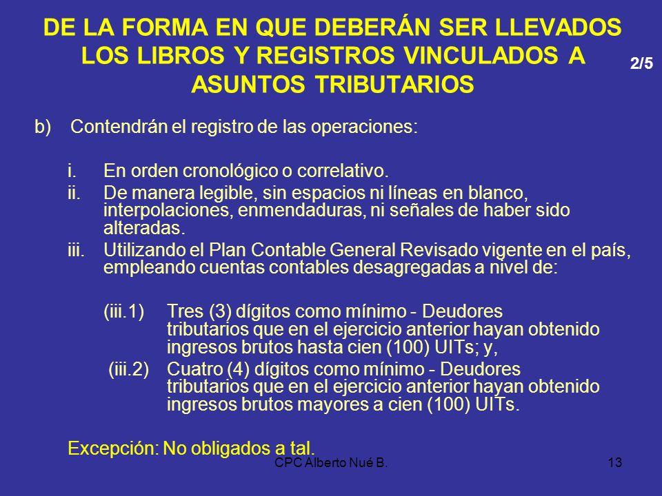 CPC Alberto Nué B.12 DE LA FORMA EN QUE DEBERÁN SER LLEVADOS LOS LIBROS Y REGISTROS VINCULADOS A ASUNTOS TRIBUTARIOS FORMA DE LLEVADO a)Contar con los