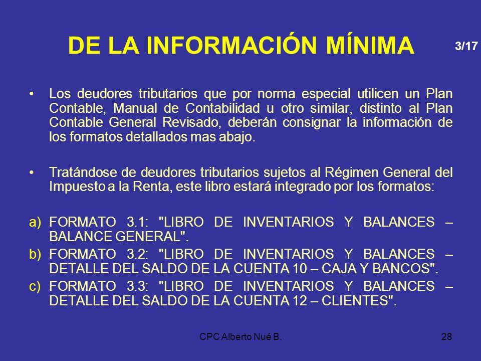 CPC Alberto Nué B.27 DE LA INFORMACIÓN MÍNIMA 2.LIBRO DE INGRESOS Y GASTOS 3. LIBRO DE INVENTARIOS Y BALANCES Deberá contener, al cierre de cada ejerc