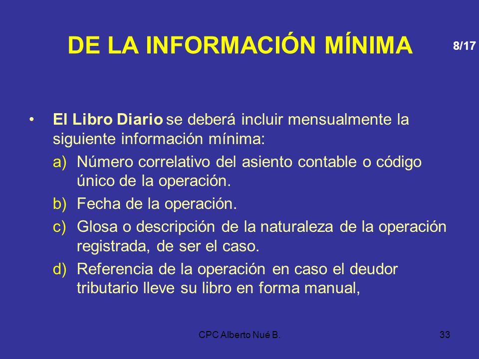 CPC Alberto Nué B.32 DE LA INFORMACIÓN MÍNIMA 4.LIBRO DE RETENCIONES (INCISOS E) Y F) DEL ARTICULO 34° DE LA LEY DEL IMPUESTO A LA RENTA) Incluir mens