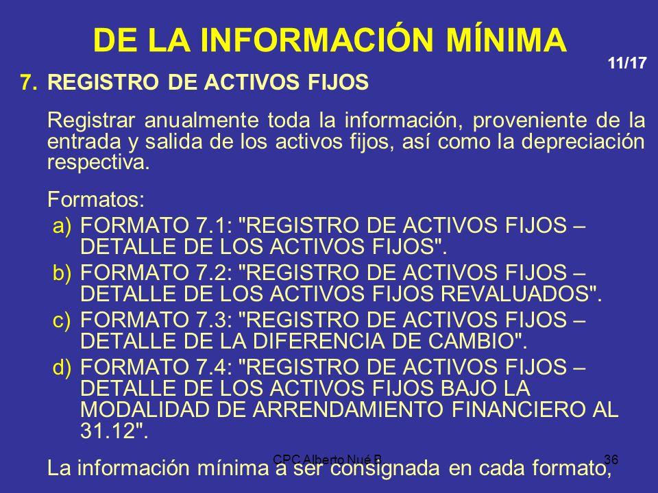 CPC Alberto Nué B.35 DE LA INFORMACIÓN MÍNIMA 6.LIBRO MAYOR Incluir mensualmente la siguiente información: a)Fecha de la operación. b)Número correlati