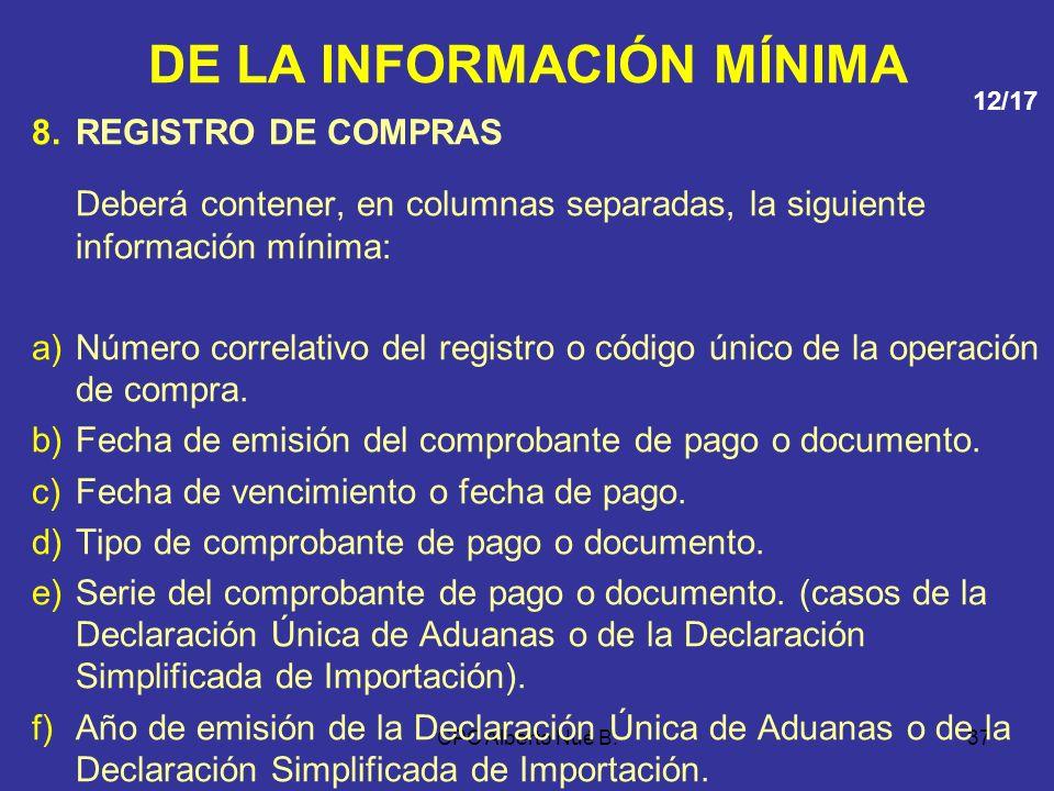 CPC Alberto Nué B.36 DE LA INFORMACIÓN MÍNIMA 7.REGISTRO DE ACTIVOS FIJOS Registrar anualmente toda la información, proveniente de la entrada y salida