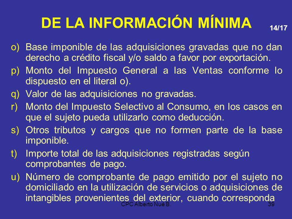 CPC Alberto Nué B.38 DE LA INFORMACIÓN MÍNIMA g)Número del comprobante de pago o documento o número de orden del formulario físico o formulario virtua