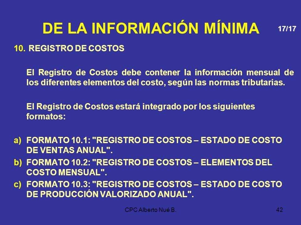 CPC Alberto Nué B.41 DE LA INFORMACIÓN MÍNIMA 9.REGISTRO DE CONSIGNACIONES Datos de cabecera : (i) Nombre del bien. (ii) Descripción. (iii) Código. (i