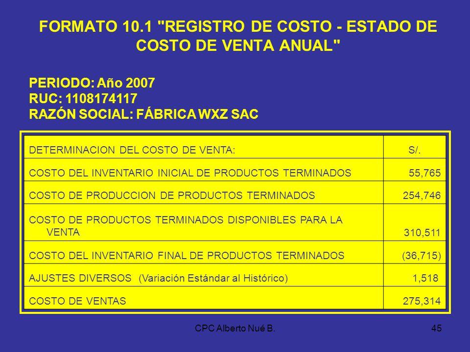 CPC Alberto Nué B.44 EJEMPLO – COSTO POR PROCESO DETALLE Mts.MD Ctas. 921,2,3 MOD Ctas. 931,2,3 GFI Ctas. 941,2,3 TOTAL Ctas. 951,2,3 PROCESO 1: CORTE