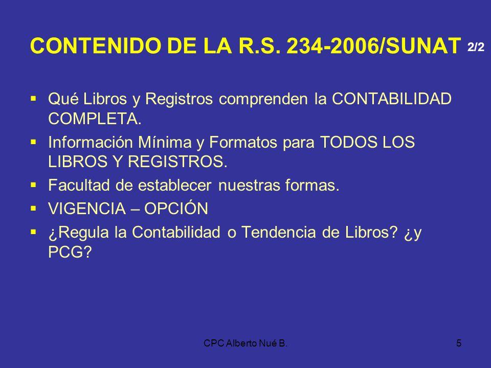 CPC Alberto Nué B.4 CONTENIDO DE LA R.S. 234-2006/SUNAT Autorización Legalización Empaste Forma de Llevanza Modificación de Denominación o Razón Socia