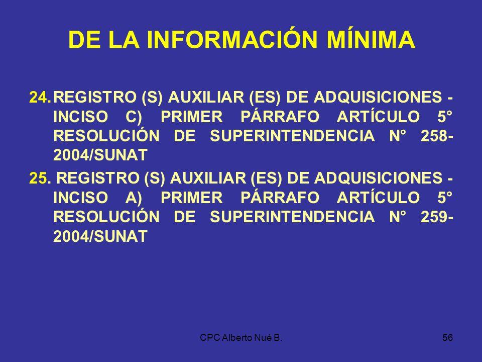 CPC Alberto Nué B.55 DE LA INFORMACIÓN MÍNIMA DE… 15.REGISTRO DE VENTAS E INGRESOS, a que se refieren las disposiciones aplicables a los sujetos del i