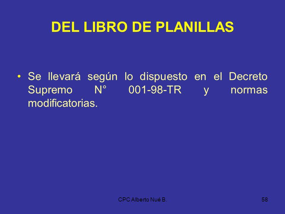 CPC Alberto Nué B.57 DE LOS LIBROS DE ACTAS Y DE MATRÍCULA DE ACCIONES La información mínima será la establecida en: a)Los artículos 40° y 51° de la L