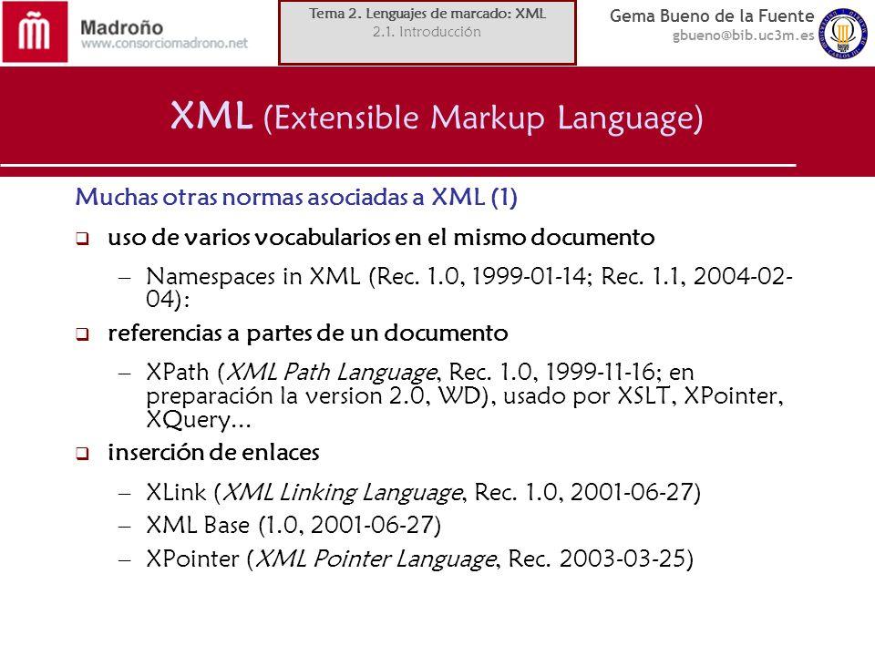 Gema Bueno de la Fuente gbueno@bib.uc3m.es XML (Extensible Markup Language) Muchas otras normas asociadas a XML (1) uso de varios vocabularios en el m
